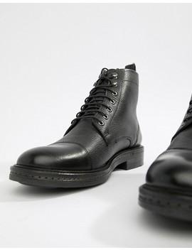Walk London Wolf Toe Cap Lace Up Boots In Black by Walk London