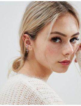 Astrid & Miyu Mystic Cross 18k Rose Gold Plated Opal Stone Ear Cuff by Astrid & Miyu