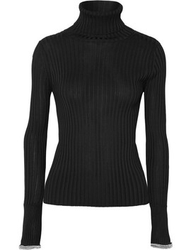 Crystal Embellished Ribbed Knit Turtleneck Sweater by Alexander Wang