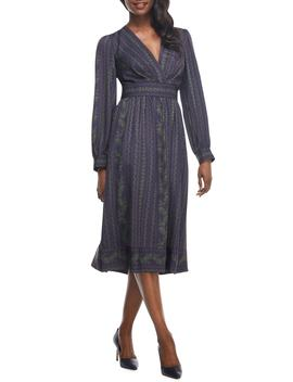 Jocelyn Border Print Faux Wrap Dress by Gal Meets Glam Collection