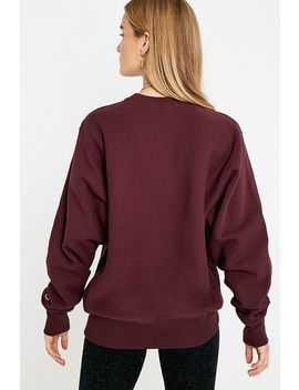 Champion Script Logo Aubergine Crew Neck Sweatshirt by Champion