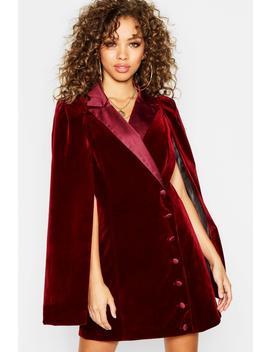 Velvet Covered Button Cape Blazer Dress by Boohoo