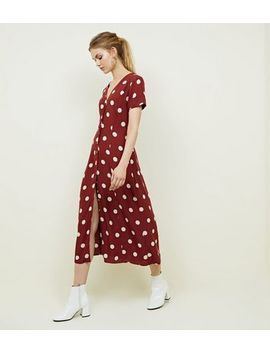 Rust Spot Print Midi Tea Dress by New Look