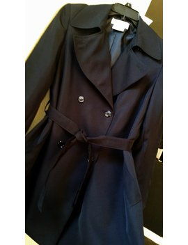 Women's Double Breasted Black Belted Trench Coat/Jacket, Fully Lined , Size Petite 8 by Etsy