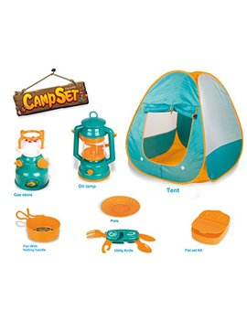 Little Explorers Pop Up Play Tent With Camping Gear Toy Tools Set For Kids (7 Pieces) by Liberty Imports