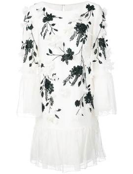 Flower Embellished Ruffle Dress by Marchesa Notte