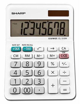 "Sharp El 310 Wb Mini Desktop Calculator, 8 Digit Angled Display, White, 3.38"" X 4.75"" X 1.0"" by Victor Technology"