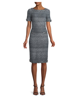 Heathered Glimmer Knit Cocktail Sheath Dress by St. John Collection