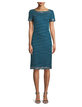 Sequined Sheen Tweed Sheath Cocktail Dress by St. John Collection