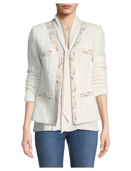 Flagged Textural Knit Blazer by St. John Collection