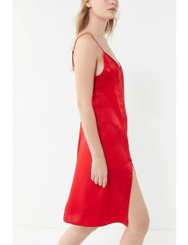 Out From Under Justine Satin Front Slit Slip Dress by Out From Under