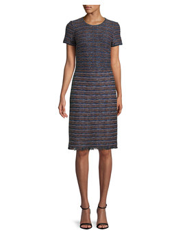 Short Sleeve Ombre Ribbon Tweed Knit Dress by St. John Collection