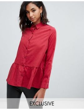 Boohoo Peplum Shirt In Red by Boohoo