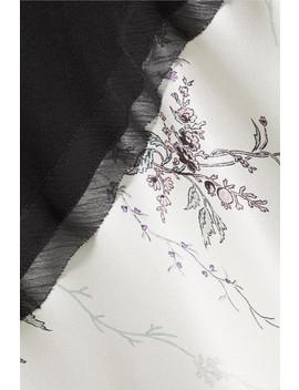 Chiffon Trimmed Floral Print Silk Satin Maxi Dress by Jason Wu Grey