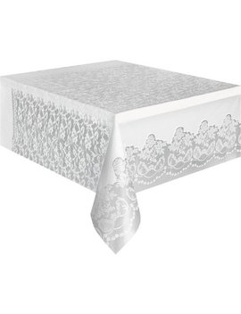 """(3 Pack) Plastic White Lace Table Cover, 108"""" X 54"""" by Party Tableware"""