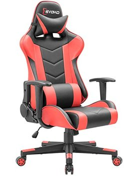 Devoko Ergonomic Gaming Chair Racing Style Adjustable Height High Back Pc Computer Chair With Headrest And Lumbar Massage Support Executive Office Chair (Red) by Devoko
