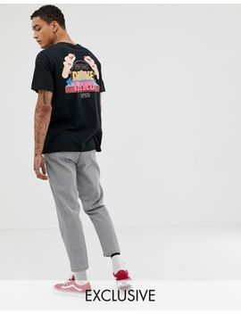 Crooked Tongues Oversized T Shirt In Black With Drive Thru Print by Crooked Tongues