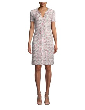 V Neck Short Sleeve Modern Pointelle Knit Dress W/ Braided Trim by St. John Collection