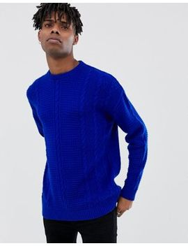 Reclaimed Vintage Inspired Cable Knit Sweater In Blue by Reclaimed Vintage