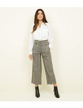 Stone Check Buckle Belt Wide Leg Trousers by New Look