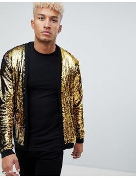 Asos Design Knitted Sequin Cardigan With Gold And Black Sequins by Asos Design