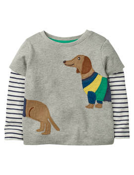 Mini Boden Baby Layered Animal Friends T Shirt, Grey Marl by Mini Boden