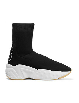 Leather Appliquéd Stretch Knit Sock Sneakers by Acne Studios