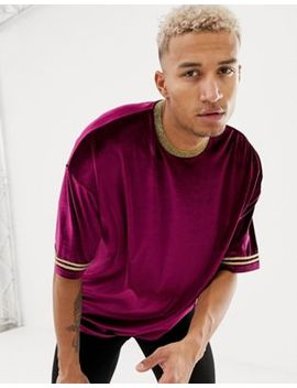 Asos Design Relaxed Longline T Shirt In Velour With Gold Neck And Sleeve Taping In Burgundy by Asos Design