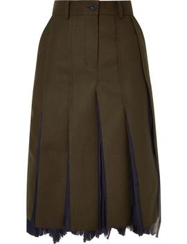 Pleated Wool Blend And Chiffon Midi Skirt by Sacai