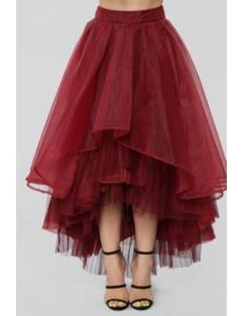 Daisy Ruffle Midi Skirt   Burgundy by Fashion Nova