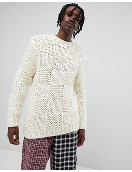 Asos Design Heavyweight Hand Knitted Square Texture Sweater In Ecru by Asos Design