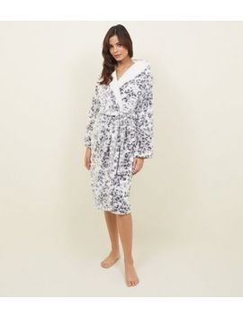 Stone Leopard Burnout Print Fluffy Dressing Gown by New Look