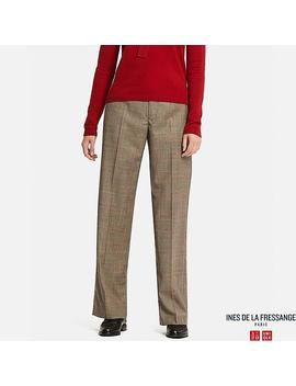 Women Ines Wool Blend Wide Leg Trousers by Uniqlo