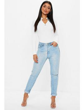 Zip Up High Neck Lslv Ribbed Bodysuit by Missguided