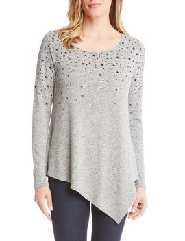 star-print-asymmetrical-hem-sweater by karen-kane