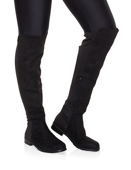 Over The Knee Stretch Panel Boots by Rainbow