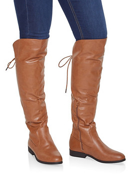 Over The Knee Lace Up Riding Boots by Rainbow