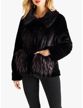 Yumi Two Tone Pocket Faux Fur Coat, Black by Yumi