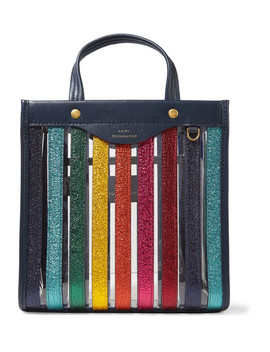 Paneled Metallic Textured Leather And Pvc Tote by Anya Hindmarch