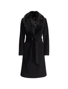 Lauren Ralph Lauren Faux Fur Collar Wool Blend Coat, Black by Ralph Lauren