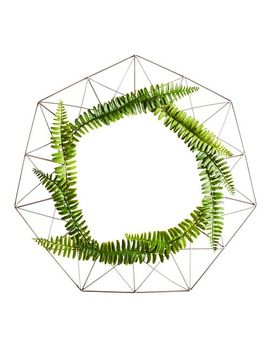 Gold Geometric Wire Wreath With Ferns by Pier1 Imports