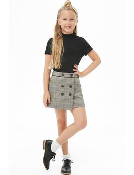 Girls Double Breasted Glen Plaid Skirt (Kids) by Forever 21