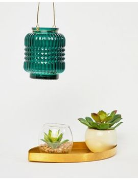 Chickidee Green Emerald Embossed Glass Candle Lantern by Chickidee