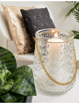 Chickidee Clear Embossed Glass Lantern With Gold Chain by Chickidee