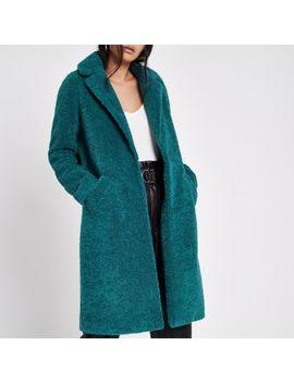 Teal Green Fleece Coat by River Island