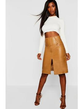 Pu Leather Look Midi Skirt by Boohoo