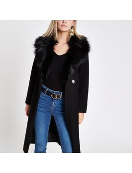 Petite Black Faux Fur Trim Belted Wool Coat by River Island