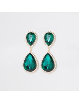 Gold Tone Emerald Stone Drop Earrings by River Island