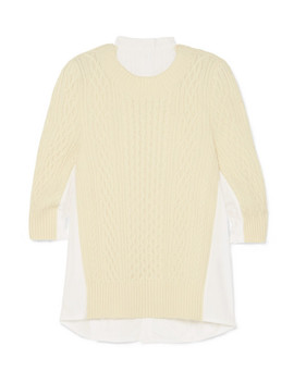 Oversized Paneled Cable Knit Wool And Poplin Top by Sacai