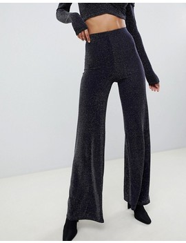 Missguided Glitter Two Piece Wide Leg Pants In Navy by Missguided